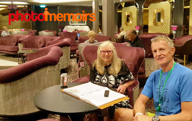Lisette Williams with son Carl recording her Photomemoirs in 2018 onboard cruise ship Symphony of the Seas